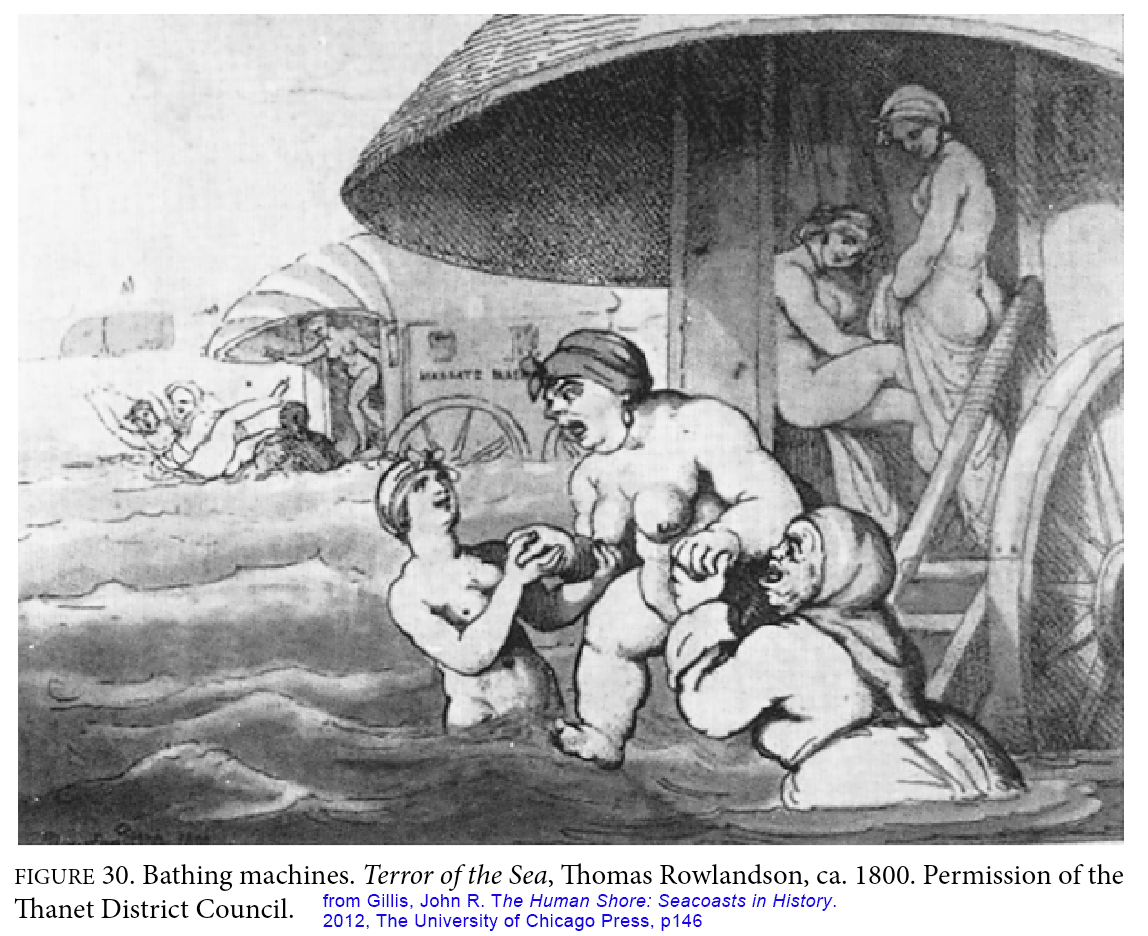 Illustration from John Gillis' The Human Shore of Bathing Machines - Victorian vehicles that carried the sick into the ocean, their faces show terror and pain.